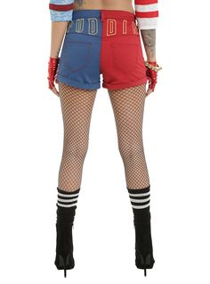 DC Comics Suicide Squad Harley Quinn Lace-Up Split Shorts (back)