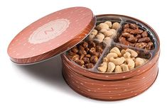 Premium Quality 4 Section Nuts Gift Tin Includes Healthy Food Snacks of Fresh Dry Roasted Salted and Sweet Nuts Perfect Holiday and Corporate Basket Gourmet Recipes, Dog Food Recipes, Snack Recipes, Fruit Gifts, Food Gifts, Dried Pears, Dried Fruit, Cheap Gift Baskets, Cheap Gifts