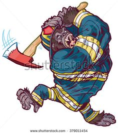 #Vector #cartoon #clipart #illustration of a tough angry #gorilla #mascot wearing a #firefighter uniform and swinging a fire axe
