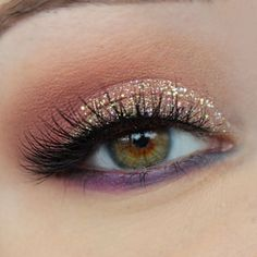 Peach Eye Makeup with Iridescent Glitter and Purple on Lower Lashline