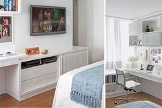 À frente da cama, o móvel multiúso laqueado combina painel de TV e nicho para os equipamentos, além de uma bancada de trabalho e gavetas.