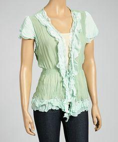 Another great find on #zulily! Light Green Ruffle Silk-Blend Top by Pretty Angel #zulilyfinds