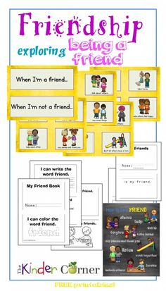 This free friendship collection from The Curriculum Corner includes a cute friend booklet for early readers. Friendship Card Sort, booklet, friends book, friendship poster & more