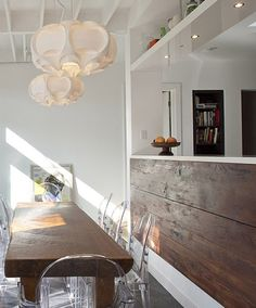 narrow dining table, rustic.