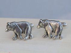 Bear Cufflinks Silver Plated Metal Vintage by emmalocketshop