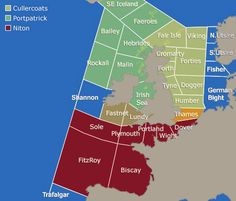 Shipping Forecast Map, UK coastal waters