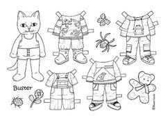 Karen`s Paper Dolls: Buster and Missepigen 1-2 Paper Doll to Colour. Buster og Missepigen 1-2 påklædningsdukke til at farvelægge.