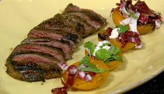 the chew | Recipe  | Michael Symon's Skirt Steak With Grilled Apricots, Mint And Feta