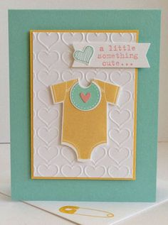 Something for Baby & Something to Say Stamp Sets; Pool Party, So Saffron Whisper White & Blushing Bride CS; Pool Party, So Saffron & Blushing Bride Inks; Baby's First Framelits; Happy Heart Embossing Folder; Owl Builder & Itty Bitty Accent Heart Punches; Circle Card Thinlets.bab