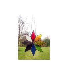 Stained glass multi coloured star suncatcher decoration