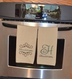Monogrammed Dish Towel by CuteZeeCustom on Etsy