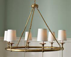 Devon 6-Light Chandelier with Shades, Antique Brass