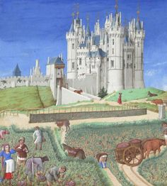 To celebrate the day of September? Here is the September page for the glorious Tres Riches Heures du Duc de Berry, created by the Limbourg Brothers. Here they are harvesting the grapes with the impressive Chateau de Saumur in the background. Medieval Life, Medieval Art, Medieval Manuscript, Illuminated Manuscript, Empire Romain, Tribute, Book Of Hours, Felder, Historical Art