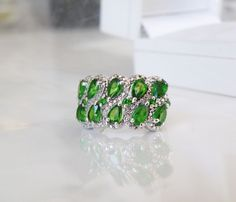 Chuck Clemency NYII Chrome Diopside 2 Row Cluster Band Ring Size 6 #ChuckClemency #Band