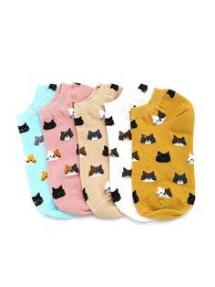 Calcetines invisibles con estampado de gato 5 pares