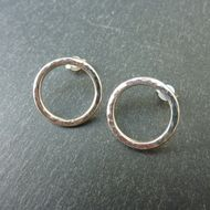 Hammered Sterling Silver Circles Stud Earrings - large £22