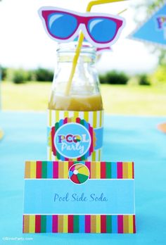 Pool Party Ideas with DIY decorations, food ideas and printables! - BirdsParty.com