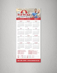 Namar Properties - Fridge Calendar #Design #Namar #NamarProperties #Print #PortElizabeth #Advertising #EasternCape Print Design, Web Design, Graphic Design, Port Elizabeth, Calendar Design, Advertising, Creative, Print Layout, Design Web