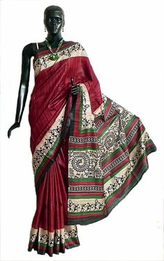 Maroon Tussar Silk Saree with Black Warli Print in Pallu and Border