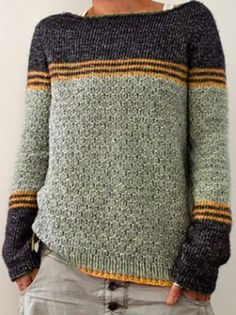 Casual Sweaters, Pullover Sweaters, Sweatshirt, Pull Gris, Color Stripes, Sweater Outfits, Pulls, Long Sleeve Sweater, Types Of Sleeves