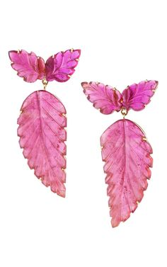 Carved Pink Tourmaline And Gold Earrings by Dana Rebecca Designs