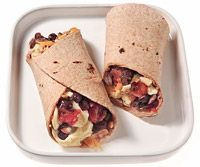{under 300 calories}  INGREDIENTS  1 and 2 egg whites  1/4 cup canned black beans, rinsed and drained  2 tablespoons salsa  2 tablespoons shredded low-fat cheddar cheese  1 small whole-wheat tortilla  DIRECTIONS  Make it:  Scramble eggs, beans, salsa and cheese. Fill tortilla with egg mixture.
