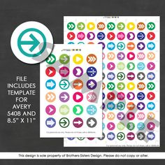 Listing is for (2) .pdf printable files for planner stickers. This way, you can print from home!! Organize your planner with these cute