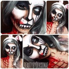 Bunny. Products Used: @Kryolan off white & light lood. Wolfe xf body paints…