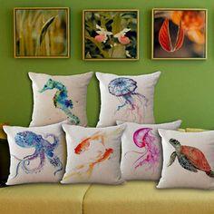 Pillows Sea Turtle Octopus Print Cotton Linen Pillow Case Cushion Cover Home Soft Decor & Garden Diy Pillows, Linen Pillows, Throw Pillow Cases, Throw Pillows, Octopus Print, 233, Watercolor Sea, Bed Linen Design, Printed Cushions