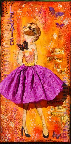"""""""Lexie""""  Mixed media girl on canvas. 6x12."""
