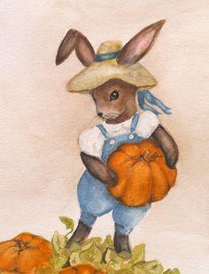 Woodland Bunny Original Watercolor Painting by CynthiaCranesArt, $125.00