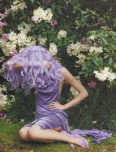 neon violet curls | violet purple color drape dress | funky romantic