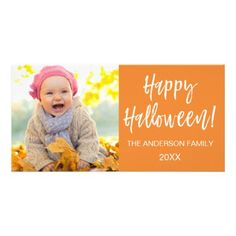 Happy Halloween Modern Halloween Photo Card - simple clear clean design style unique diy