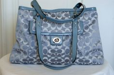 COACH $358 NEW Handbag Authentic Signature Blue Silver Purse Tote Leather SALE