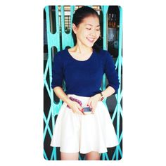 Hello Monday with white skirt and navi blue tank top