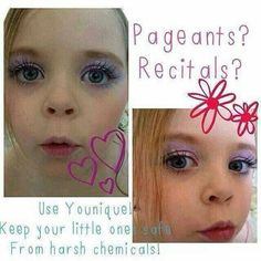 Pageant, dance and cheer moms! Youniques products are safer and easier on your little ones than falsies!  Thelashmedic.com