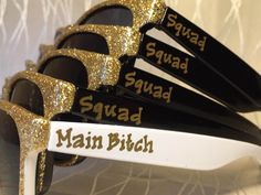 Squad sunglasses for your bachelorette party! Who doesn't love glitter????