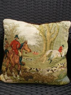 Equestrian needlepoint pillow by ChampagneFlavoredBer on Etsy, $32.00