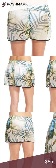 Ted Baker Twilight Floral' Print Cover-Up Shorts M A dreamy palm print lends relaxing dimension to sheer board shorts finished with black trim. Neon colors are brighter in person. Back elastic waist. 100% polyester. Hand wash. By Ted Baker London; imported. Women's Active & Swim. Size Medium Bundle & save 🌺🌴 Ted Baker Swim Coverups