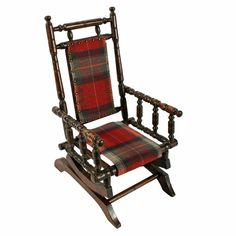 merican Child's Rocking Chair  A late 19th century American Child's rocking chair.   The chair is made from stained beech wood with a tartan upholstered seat and back that has brass studded detail.   The static platform base has a pair of springs fastening the seat to it on which it rocks.   The chair is in good working condition, the upholstery has been recently replaced.   (Circa 1900) American Children, Antique Chairs, Rocking Chair, Tartan, 19th Century, Upholstery, Armchair, Rocks, Platform