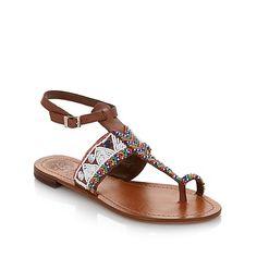 "Vince Camuto ""Malda"" Beaded Leather Toe-Ring Sandal"