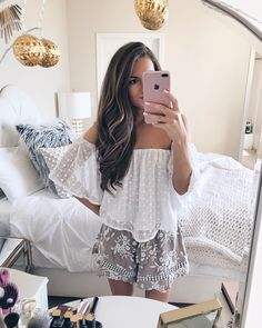 embroidered shorts + off-the-shoulder top. love this spring outfit!