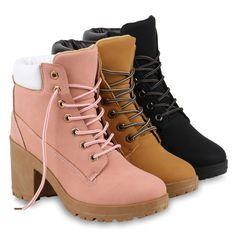 Damen Worker Boots Profil Sohle Block Absatz Stiefeletten 811964