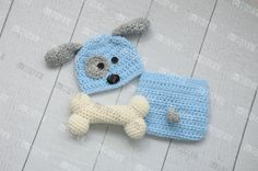 Newborn puppy hat, baby boy puppy hat, crochet puppy hat, newborn photo prop, baby boy clothes, coming home outfit, newborn boy hat, blue Size: Newborn only Color: Light Blue and Grey, Pink and Grey, Beige and Taupe, or Yellow and Grey Turnaround: 2 to 3 weeks, plus the time to