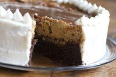 Fall cake- gingerbread cake, pumpkin cheesecake, and caramel.  I'm ready for fall baking!