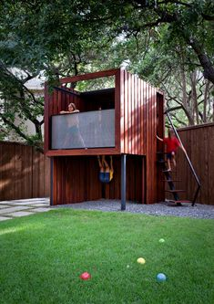 Dazzling Cool Tree Houses trend Austin Contemporary Kids Inspiration with fun grass kids lawn outdoor playsets play playhouse steel and wood steps steel frame