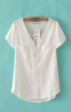 White Two Pockets High-low Hem Cotton Short Sleeve Blouse