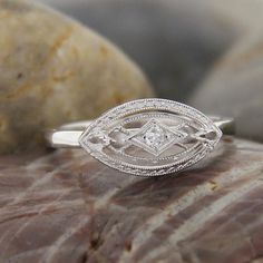 Antique East-West Diamond Ring, 14k White Gold