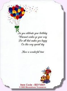 Birthday Card Verses By Moonstone Treasures Happy For Cards