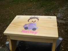 Step Stool, Child's Name, Princess Crowns, Wooden Stool, Hand Painted, Little…